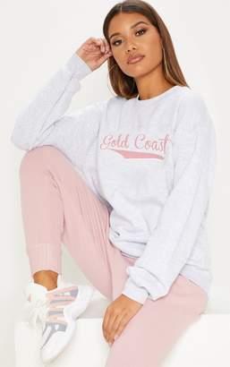 PrettyLittleThing Grey Gold Coast Slogan Oversized Sweater