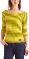 U.S. Polo Assn. Women's Tee Shirts ETSN - Yellow Stripe Elbow-Sleeve Square Boatneck Top - Women