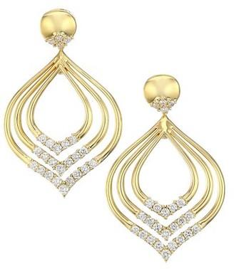 Alberto Milani Via Brera 18K Yellow Gold & Diamond Triple Hombus Leaf Drop Earrings