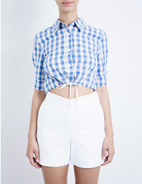 Solid & Striped The Taylor cotton and linen-blend cropped top