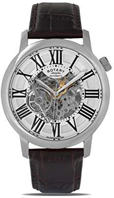 Rotary Mens Skeleton Automatic Watch with Leather Strap GLE000015/21S