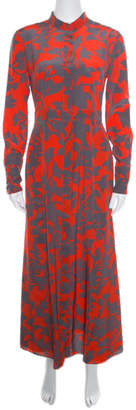 Diane von Furstenberg Orange and Grey Brulon Graphic Printed Silk Maxi Dress S