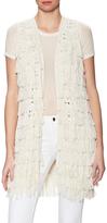 Alice + Olivia Weiss Fringe Mid-Length Vest