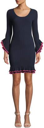 Milly Rib-Knit Ruffle-Sleeve Dress w/ Contrast Trim