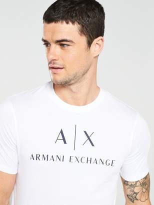 Armani Exchange Logo Print T-Shirt - White