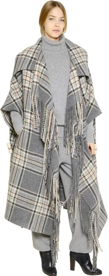 Chloé Plaid Virgin Wool Blanket Cape