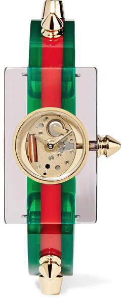 Gucci Plexiglass And Gold-tone Watch - Green