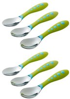 NUK Gerber Stainless Steel Tip Kiddy Cutlery Spoons, 6 Pack