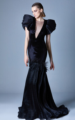Gaby Charbachy Illusion Deep V Neck Gown
