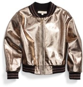 Truly Me Toddler Girl's Metallic Bomber Jacket
