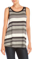 Cable & Gauge Mesh Back Striped Tank