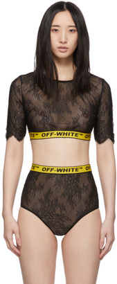 Off-White Black Lace Industrial Crop Lingerie Set