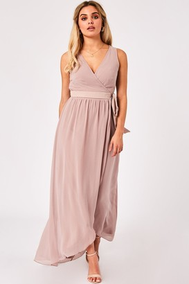 Little Mistress Phoebe Mink Maxi Wrap Dress