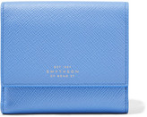 Smythson Panama Textured-leather Wallet - Sky blue