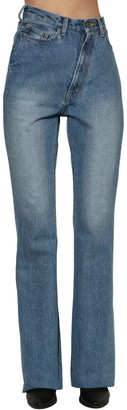 Facetasm Twisted High Rise Flared Denim Jeans