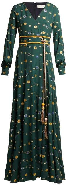 Peter Pilotto Floral Fil Coupe Crepe Dress - Womens - Green Multi