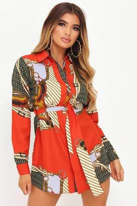 I SAW IT FIRST Red Chain Print Shirt Dress