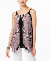INC International Concepts Petite Printed Cutout Halter Top, Created for Macy's