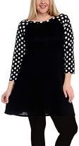 Celeste Black Polka Dot Tunic Dress - Plus