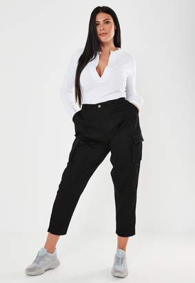 Missguided Plus Size Black Straight Leg Cargo Trousers