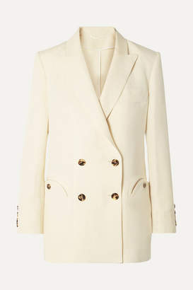 BLAZÉ MILANO Savannah Everyday Double-breasted Linen And Silk-blend Blazer - Cream