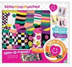 LittleMissMatched Happy Smiles Deluxe Spinorama 15 Pack of Individual Colorful Socks
