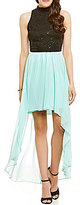 B. Darlin Mock Neck Sequin Lace High-Low Sheath Dress