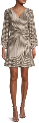 Momonì Pesaro Metallic Stripe Wrap Dress