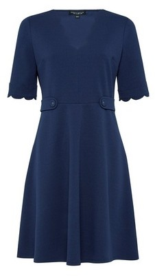 Dorothy Perkins Womens Navy Scallop Detail Skater Dress