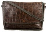 Carlos Falchi Embossed Leather Messenger Bag