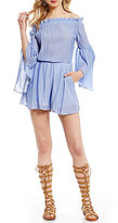 GB Off-The-Shoulder Bell-Sleeve Romper