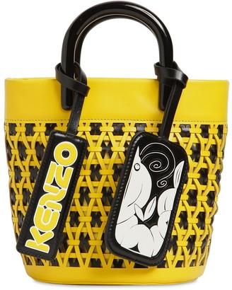 Kenzo Mini Woven Leather Bucket Bag