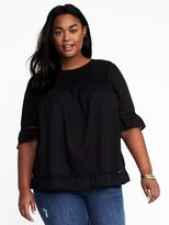 Old Navy Pintucked Lace-Trim Plus-Size Blouse