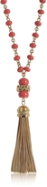 Tory Burch Coral Red Beaded Tassel Long Necklace