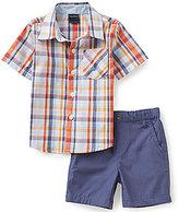 Nautica Baby Boys 12-24 Months Plaid Woven Shirt & Solid Canvas Shorts Set
