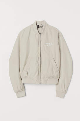 H&M Printed Bomber Jacket - Beige