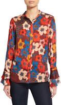 Elie Tahari Safiya Floral Long-Sleeve Button-Down Blouse