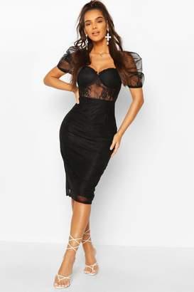 boohoo Lace Organza Puff Sleeve Midi Dress