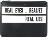 Givenchy slogan print clutch - men - Calf Leather/Leather - One Size