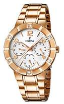 Festina Women's Quartz Watch with White Dial Analogue Display and Rose Gold Stainless Steel Plated Bracelet F16709/1