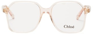 Chloé Willow Oversized Square Acetate Glasses - Nude