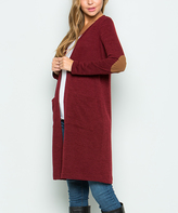 Sweet Pea Burgundy Elbow-Patch Duster