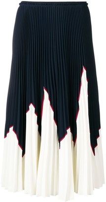 RED Valentino Colour Block Pleated Skirt
