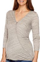 Asstd National Brand Maternity 3/4-Sleeve Faux-Wrap Blouse - Plus