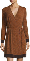 MICHAEL Michael Kors Faux-Wrap Long-Sleeve Dress, Gold Flame