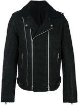 Balmain blouson biker jacket - men - Cotton/Polyester/Cupro/Wool - XL