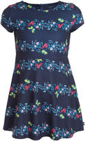 Nautica Girls' Casual Dresses NAVY - Navy Floral Stripe A-Line Dress - Girls