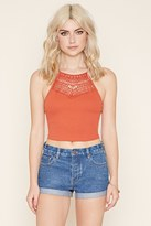 Forever 21 FOREVER 21+ Cutout Crochet-Paneled Cami