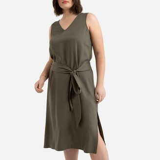La Redoute Collections Plus Sleeveless Midi Dress with Tie-Waist