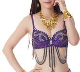 Women Tribal Beaded Bra Top with Sequins for Halloween/Belly Dance Performance